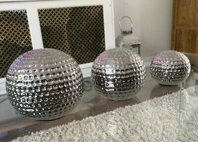 £18.91 • Buy New Set Of 3 Silver Ceramic Dimpled Spheres Ornament Home Decor