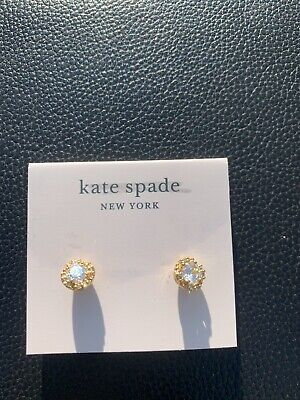 $ CDN25.16 • Buy Kate Spade That Sparkle Round Earrings Clear/ Gold New