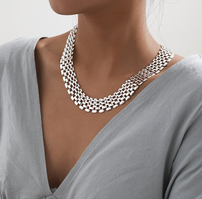 AU19.95 • Buy Silver Chunky Flat Chain Statement Necklace