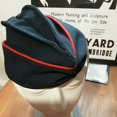 £10 • Buy Military Style Side Cap - Black Wool / Red Trim - Good Condition