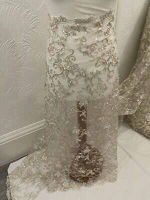 """£6.99 • Buy 1M White Gold Embroided Pearl Beaded Scalloped Bridal Lace Fabric 44"""""""