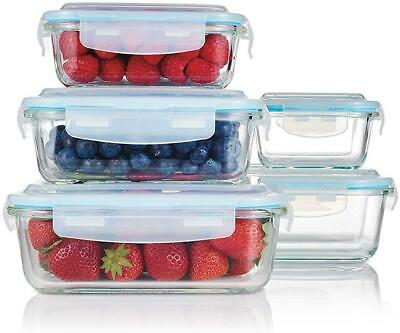£20.49 • Buy 5Pc Glass Containers Set Lunch Box With Airtight Lids Food Kitchen Storage Box