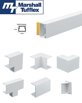 £2.99 • Buy Marshall Tufflex 25 X 16 White Self Adhesive Trunking PVC Cable Management Hide