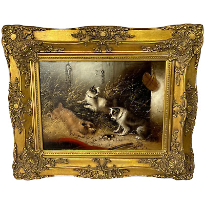 £3200 • Buy Oil Painting 3 Hunting Terrier Dogs  A Sharp Lookout  Edward Armfield 1817-1896