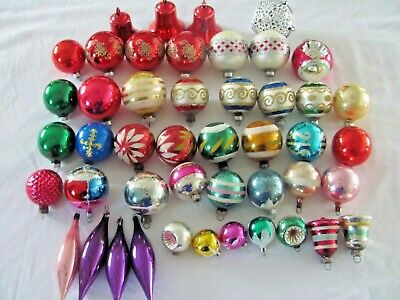 $ CDN74.98 • Buy Lot Of Vintage Glass Christmas Ornaments Striped Frosted Indent Icicles & More