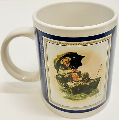 """$ CDN7.50 • Buy Vintage Norman Rockwell The Saturday Evening  Post """"Gone Fishing"""" Coffee Mug Cup"""