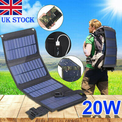 £15.65 • Buy 20W USB Solar Panel Folding Power Bank Outdoor Camping Hiking Battery Charger UK