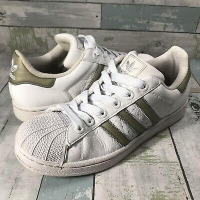 $ CDN35.62 • Buy Adidas Superstar Leather Shoes 723001 White Gold Shell Toe Size 8 Men