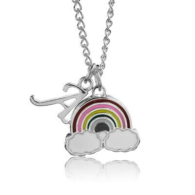 £2.85 • Buy Rainbow Necklace Childrens Personalised Scroll Letter Alphabet A-Z Silver Plated