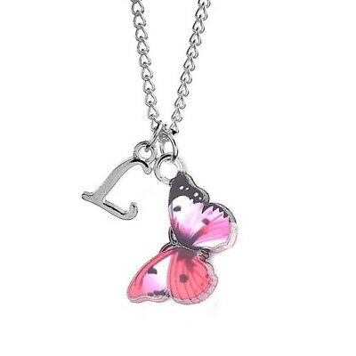 £2.85 • Buy Butterfly Pink Necklace Childrens Personalised Scroll Alphabet A-Z Silver Plated