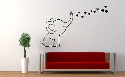£7.19 • Buy Elephant Love & Hearts Decor Home Wall Decal Sticker L24