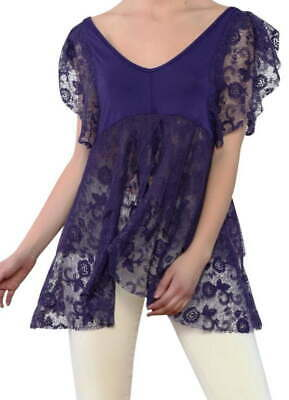 $84.97 • Buy Free People Dotted Mesh Tee XSmall 0 2 Blue Lacey Flutter Sleeves Peplum Sheer