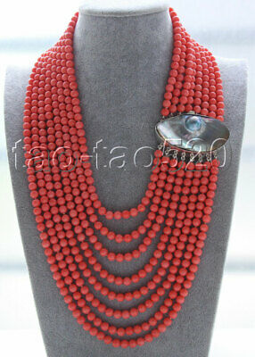 $179.99 • Buy AAA 16 -23  8row 7mm Round Pink Coral Beads Necklace 925s Mabe Pearl Clasp K286