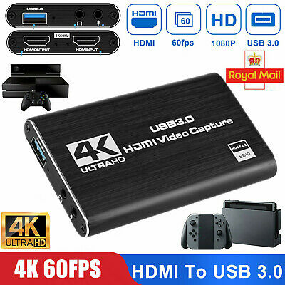 £30.59 • Buy 4K HDMI To USB 3.0 Audio Video Capture Card 1080P 60FPS For Game Live Streaming
