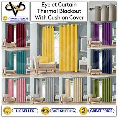 £24.95 • Buy Luxury Thermal Blackout Curtains Eyelet Ring Top Curtain Pair With Tie Backs