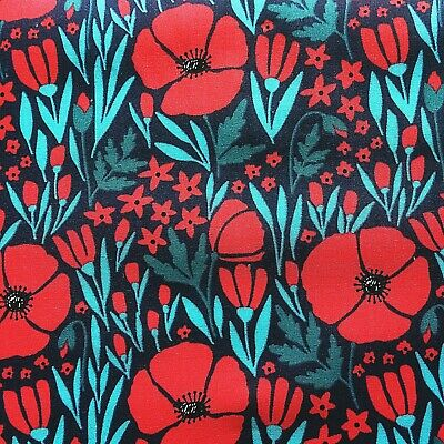 £4.30 • Buy Vintage PolyCotton Fabric Navy Blue Red Poppy Floral Flower Craft Material