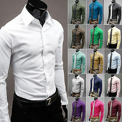 $13.26 • Buy Mens Casual Slim Fit Long Sleeve Buttons Shirt Formal Dress Shirts Tops Business