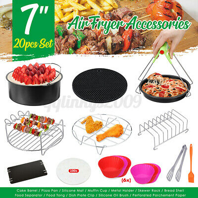AU23.68 • Buy 114 PCS 7'' Air Fryer Accessories Rack Cake Pizza Oven Barbecue Frying Pan