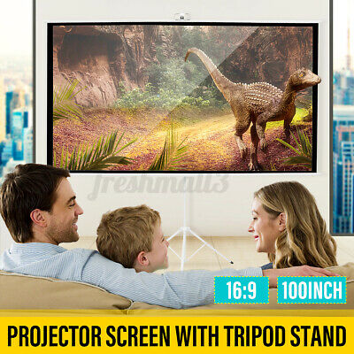 AU119.99 • Buy 100inch 16:9 Portable Projector Screen Tripod Stand HD 4K Home Outdoor Cinema
