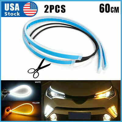 $12.99 • Buy 2 X 60CM LED DRL Light Amber Sequential Flexible Turn Signal Strip For Headlight