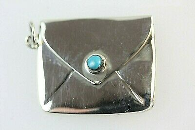 £95 • Buy Rare Stamp Case Silver Envelope In Set With Cabochon Turquoise Round Stone 925