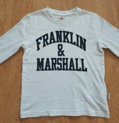 £4.50 • Buy Franklin And Marshall DESIGNER White Long Sleeve T Shirt Top Age 4-5 IMMACULATE