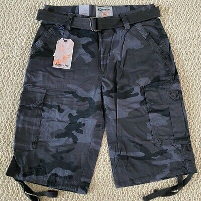 $19.99 • Buy NWT Men's Ablanche Black Gray Camouflage Camo Belted Cargo Shorts ALL SIZE 30-42