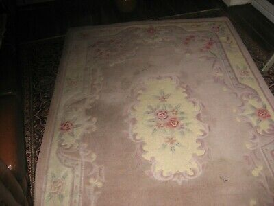 £59 • Buy Chinese Rug Large  Pale Pink/cream Floral Design, 59 X 94 Ins