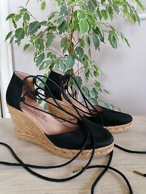 £19 • Buy Gaimo Size 5 Black Suede Leather Wedge Espadrilles With Ankle Ties Lace Up Leg