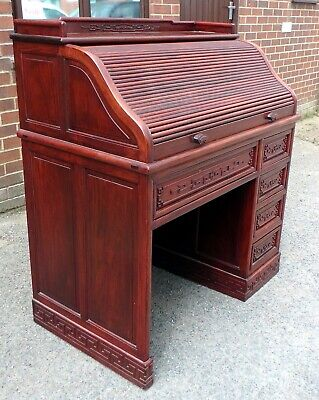 £795 • Buy Fine Chinese Antique Republic Period Solid Rosewood Archaic Carved Rolltop Desk