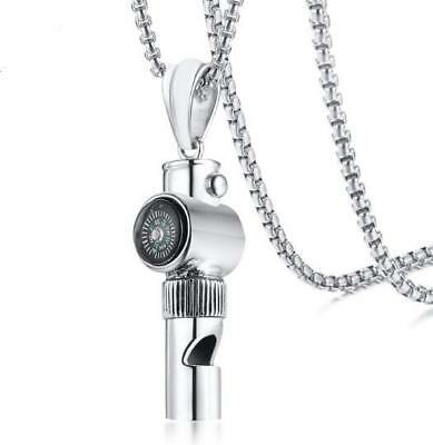 $10.79 • Buy Fitness Sport Mens Stainless Steel Compass Whistle Pendant Necklace Chain 24''