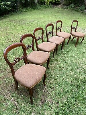 AU136 • Buy 6 Antique Balloon Back Chairs