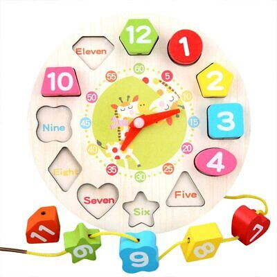£4.59 • Buy Children Kids Wooden Clock Shape Toys Early Learning Number Educational Puzzle