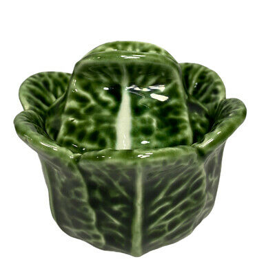 £15.60 • Buy Vintage Majolica Cabbage Leaf Sugar Bowl Jelly Dish With Lid Portugal