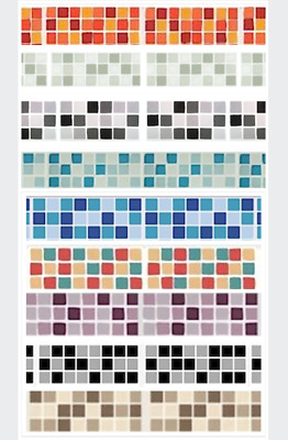 £4.99 • Buy SELF ADHESIVE MOSAIC BORDER TILE TRANSFERS STICKERS BATHROOM Or KITCHEN