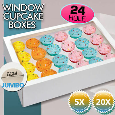AU19.99 • Buy 20 Pcs 4 Holes Cupcake Boxes Cupe Cake Box Window Face Cover And Inserts