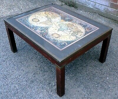 £85 • Buy Victorian Antique Campaign Style Mahogany Brass Bound World Map Coffee Table
