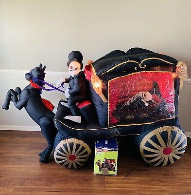 $ CDN302.48 • Buy Rare Gemmy Halloween Inflatable Airblown 8ft Carriage Hearse With Sound