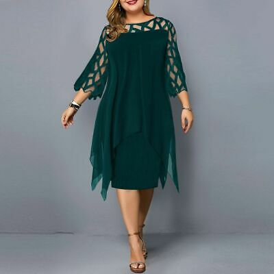 AU39.97 • Buy Plus Size 18-28 Women Midi Dress Lace Ladies Evening Cocktail Formal Party Dress