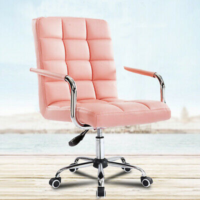 AU89.47 • Buy Pink 360° Swivel Computer Desk Office Study Chair PU Leather Adjustable Chair