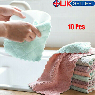 £4.31 • Buy 10Pcs Super Absorbent Microfiber Kitchen Dish Cloth Household Cleaning Tea Towel
