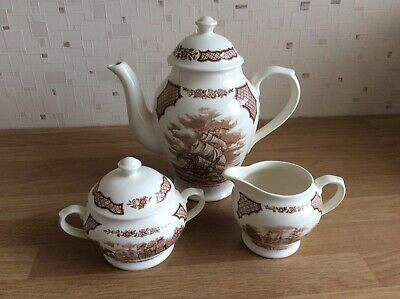 """£12.50 • Buy Alfred Meakin """"Fair Winds"""" Coffee Pot, Cream Jug And Covered Sugar Bowl"""