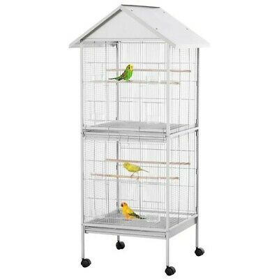 Large Parrot Bird Cage Pawhut D10-065 White, 170cm Top And Bottom, Stand, Perch. • 60£