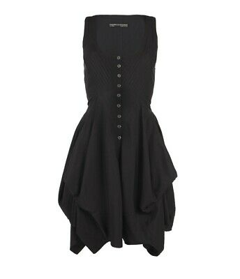 £17.99 • Buy All Saints Rogalle Dress Black Size 6 Gothic Rock Chic Layered Tier