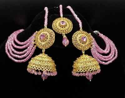 £16.99 • Buy *UK SELLER* Bollywood Indian Gold Pink Earrings With Earchain Jhumka Set