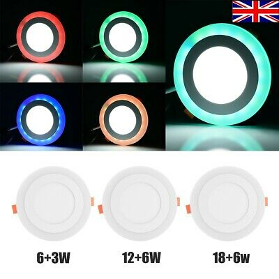 £9.99 • Buy LED Ceiling Light Dual Color White RGB  Fans Recessed Panel Downlight Spot Lamp