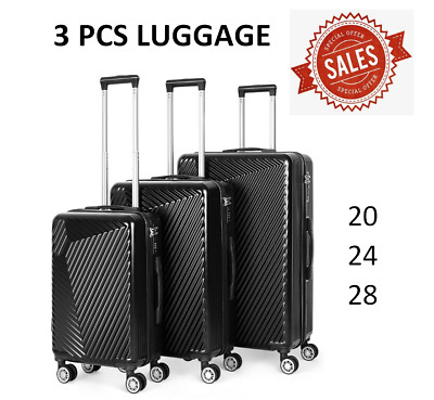 """View Details 3 Piece Black Luggage Sets Travel Spinner Suitcase Lightweight ABS 20'' 24"""" 28"""" • 105.99$"""