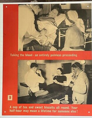 £10 • Buy WW2 Ministry Of Information Blood Transfusion Cardboard Poster Taking Blood