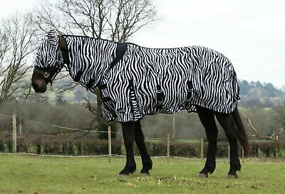 £29.49 • Buy Zebra Print Horse Fly Rug | Combo Neck Cover | Belly Protection | Free Fly Mask