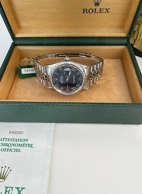 $ CDN8945.64 • Buy Rolex DateJust 16220 Blue Dial Stainless Steel 1996 Box & Papers
